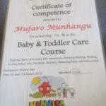 baby and toddler certificate for mufaro munhangu